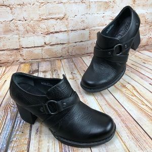 Born Black Leather Ankle Boots Booties Block Heels